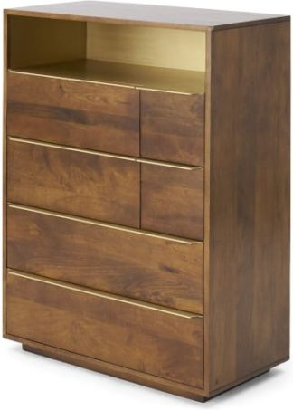 An Image of Anderson Tall Multi Chest of Drawers, Mango Wood & Brass