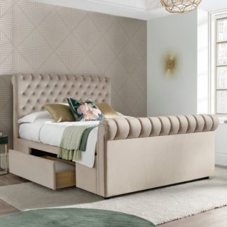 An Image of Deacon Warm Stone Velvet Fabric 2 Drawer Sleigh Bed - 4ft6 Double
