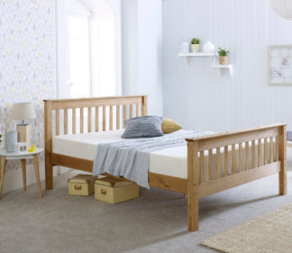 An Image of Wooden Bed Frame 4ft Small Double Somerset Waxed Pine