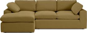 An Image of Samona Left Hand Facing Chaise End Sofa, Latte Cotton & Linen Mix