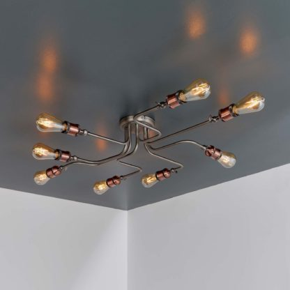 An Image of Vogue Eastville 8 Light Semi Flush Ceiling Fitting Copper