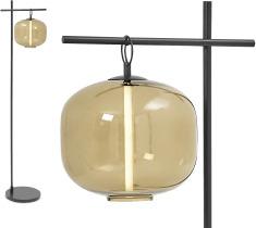 An Image of Olney Floor Lamp, Champagne Glass & Matte Black Metal