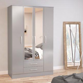 An Image of Lynx Grey 4 Door 2 Drawer Wardrobe with Mirror