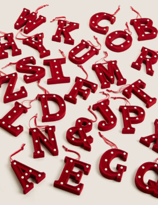 An Image of M&S Red Velvet Light Up Letter Decoration