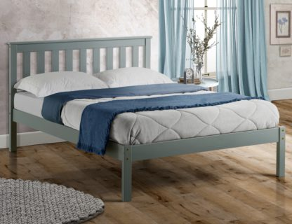 An Image of Solid Pine Wooden Bed Frame 5ft King Size Denver Grey