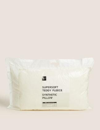 An Image of M&S Teddy Fleece Medium Pillow