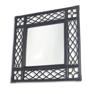 An Image of Black Vintage Square Rattan Wall Mirror