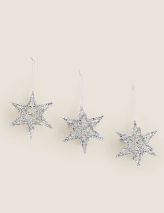 An Image of M&S 3 Pack Glitter Wire Star Tree Decorations