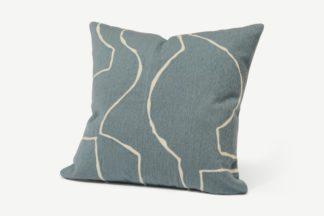 An Image of Nuwan Embroidered Cushion, 50 x 50 cm, Slate Blue