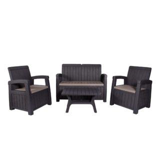An Image of Faro 4 Seater Black Conversation Set Black