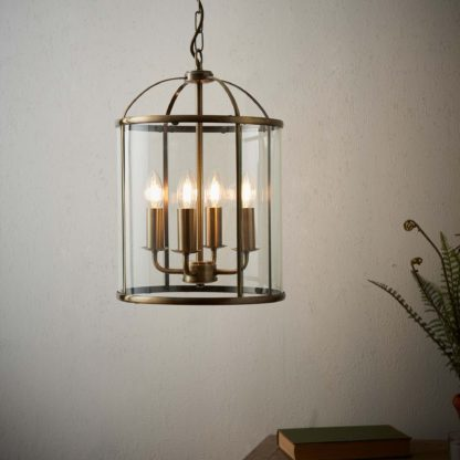 An Image of Vogue Lambeth 4 Light Pendant Ceiling Fitting Brass