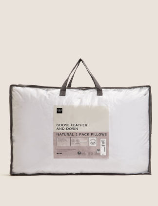 An Image of M&S 2 Pack Goose Feather & Down Pillows