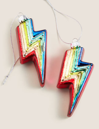 An Image of M&S 2 Pack Rainbow Lightning Bolt Decorations