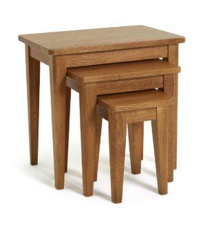 An Image of Habitat Nest of 3 Tables - Solid Oak