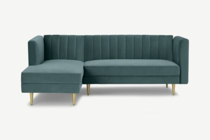 An Image of Amicie Left Hand Facing Chaise End Click Clack Sofa Bed, Marine Green Velvet