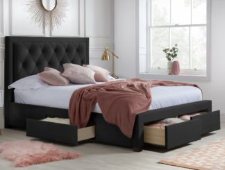 An Image of Woodbury Black Velvet Fabric 4 Drawer Storage Bed Frame - 4ft6 Double