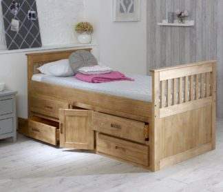 An Image of Wooden Storage Bed Frame 3ft Single Captains Waxed Pine