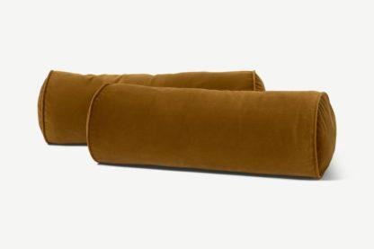 An Image of Julius Set of 2 Bolster Cushions, 20 x 55cm, Dark Ochre Velvet