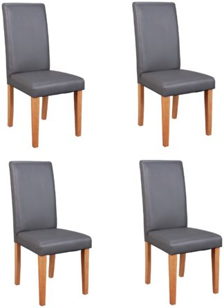 An Image of Argos Home 4 Midback Dining Chairs - Charcoal