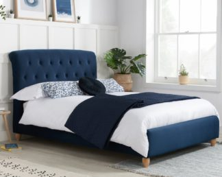 An Image of Brompton Midnight Blue Fabric Bed - 4ft Small Double