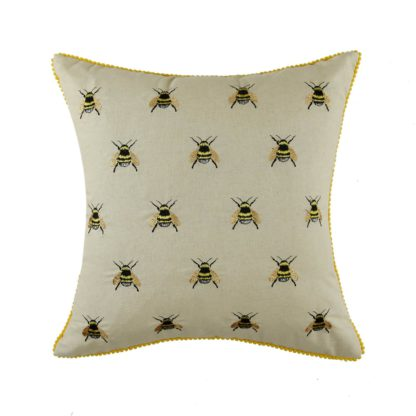 An Image of Embroidered Bumble Bee Cushion