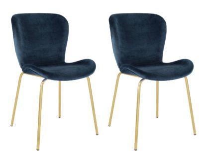 An Image of Habitat Etta Pair of Velvet Dining Chair - Blue