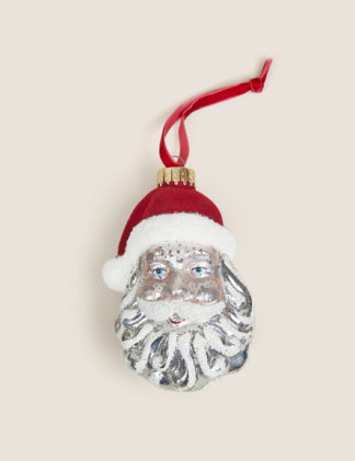 An Image of M&S Glass Hanging Santa Face Decoration