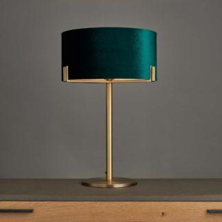 An Image of Vogue Balaton 1 Light Green Velvet Table Lamp Green