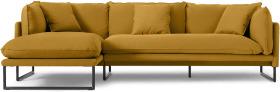 An Image of Malini Left Hand Facing Chaise End Sofa, Ochre Cotton & Linen Mix