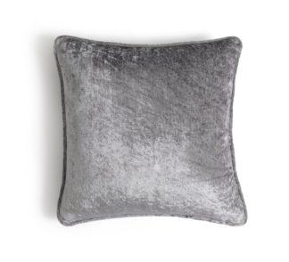 An Image of Habitat Crushed Velvet Plain Cushion - Silver - 43x43ccm