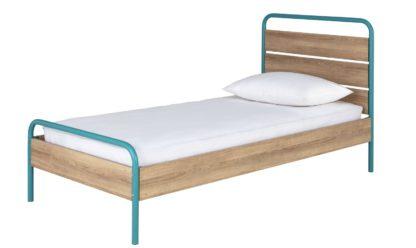 An Image of Habitat Industrial Single Bed Frame - Dark Oak