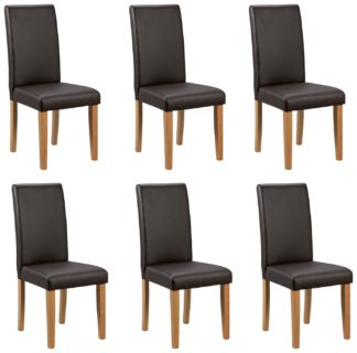 An Image of Argos Home 6 Midback Dining Chairs - Chocolate