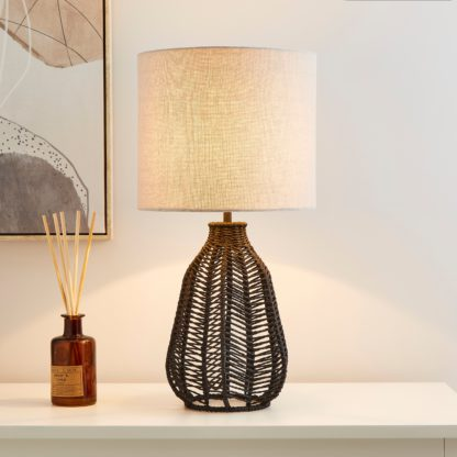 An Image of Kylo Woven String Table Lamp Charcoal