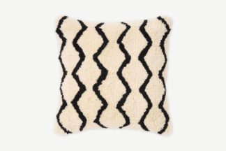 An Image of Dulip Berber-Style Cotton Cushion, 45 x 45cm, Natural & Black