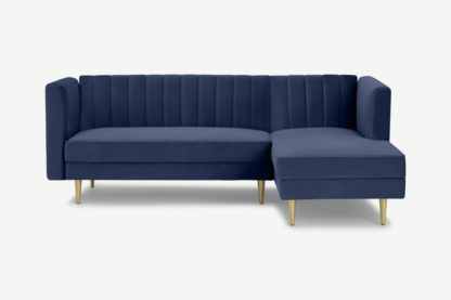 An Image of Amicie Right Hand Facing Chaise End Click Clack Sofa Bed, Royal Blue Velvet