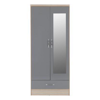 An Image of Nevada 2 Door Mirrored Wardrobe Brown
