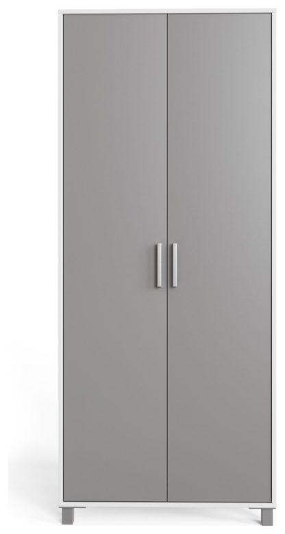 An Image of Frank Olsen Smart 2 Door Wardrobe - White & Grey
