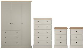An Image of Argos Home Kensington 4 Piece Wardrobe Set -Grey/ Oak Veneer
