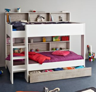 An Image of Tam Tam White and Grey Wooden Bunk Bed with Underbed Storage Drawer Frame - EU Single