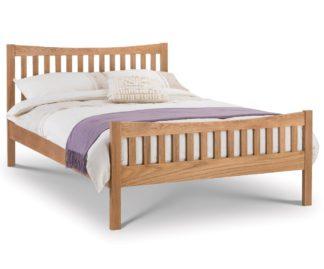 An Image of Bergamo Solid Oak Wooden Bed Frame - 5ft King Size
