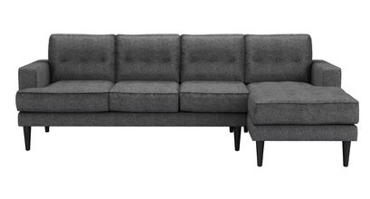An Image of Mabel Large RHF Chaise Sofa in Granite Soft Wool
