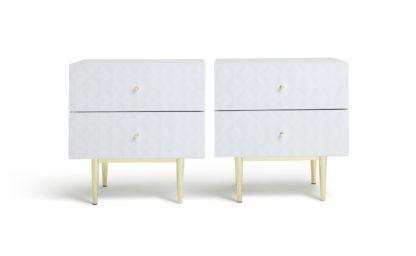 An Image of Habitat Mayfair 2 Bedside Tables Set - White Glass