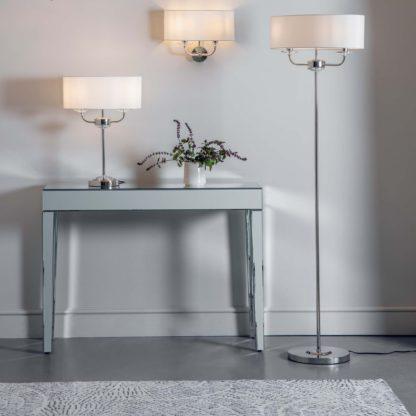 An Image of Vogue Katarina 2 Light Floor Lamp Brass