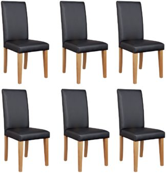 An Image of Argos Home 6 Midback Dining Chairs - Black