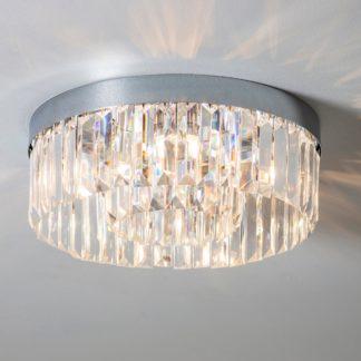 An Image of Vogue Crystal Bath 5 Light Flush Ceiling Fitting Chrome Chrome