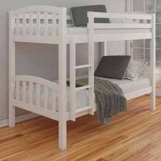 An Image of American White Finish Solid Pine Wooden Bunk Bed Frame - 3ft Single