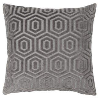 An Image of Cut Velvet Cushion - Flint - 45x45cm