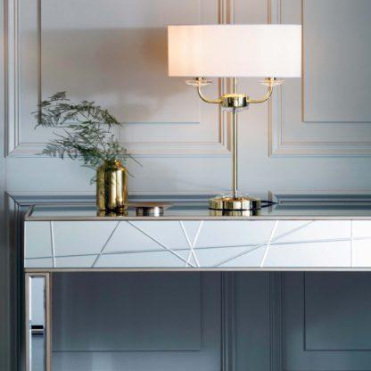 An Image of Vogue Katarina 2 Light Table Lamp Nickel