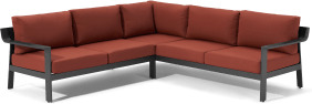 An Image of Kochi Garden Corner Lounge Set, Charcoal & Auburn Red