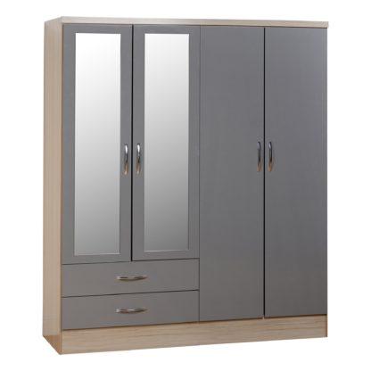 An Image of Nevada 4 Door Mirrored Wardrobe White